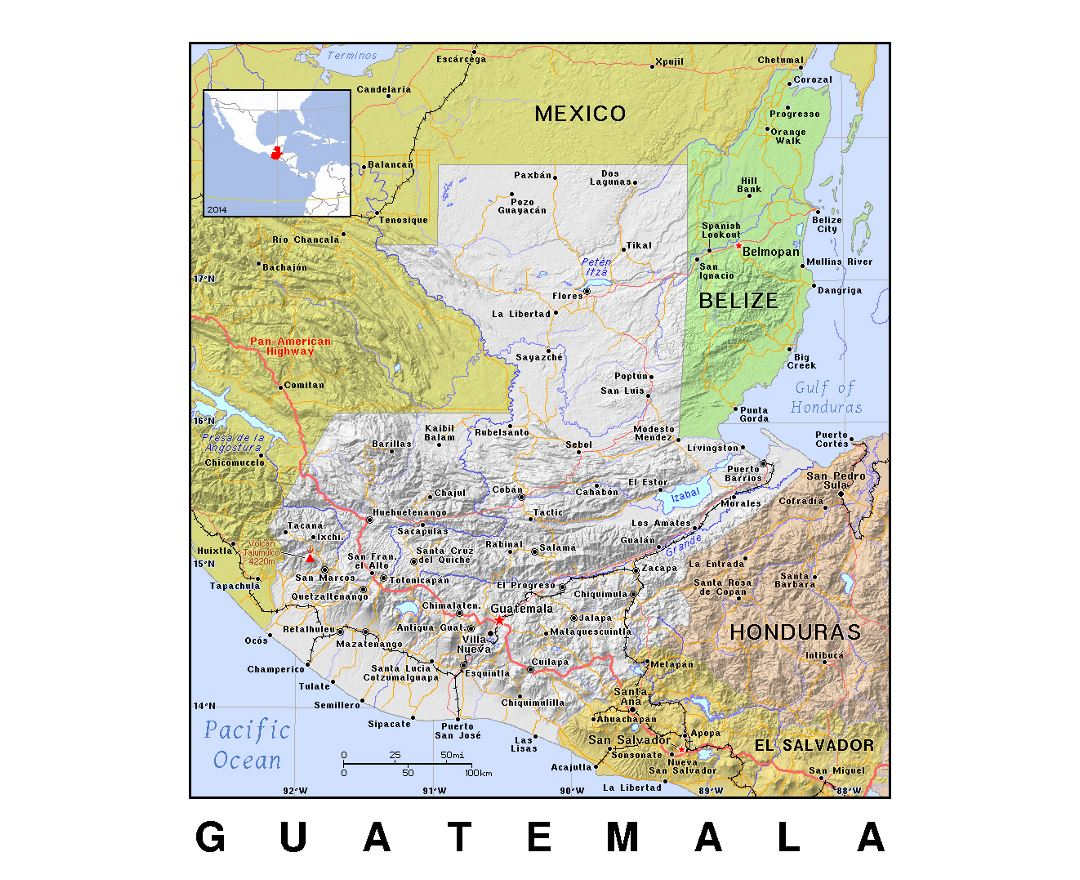 Detailed political map of Guatemala with relief