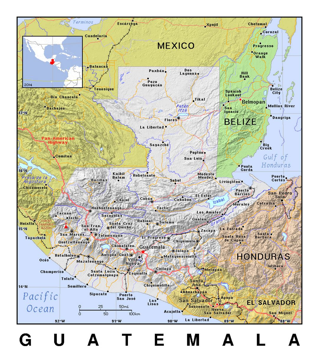 Detailed Political Map Of Guatemala With Relief Guatemala North