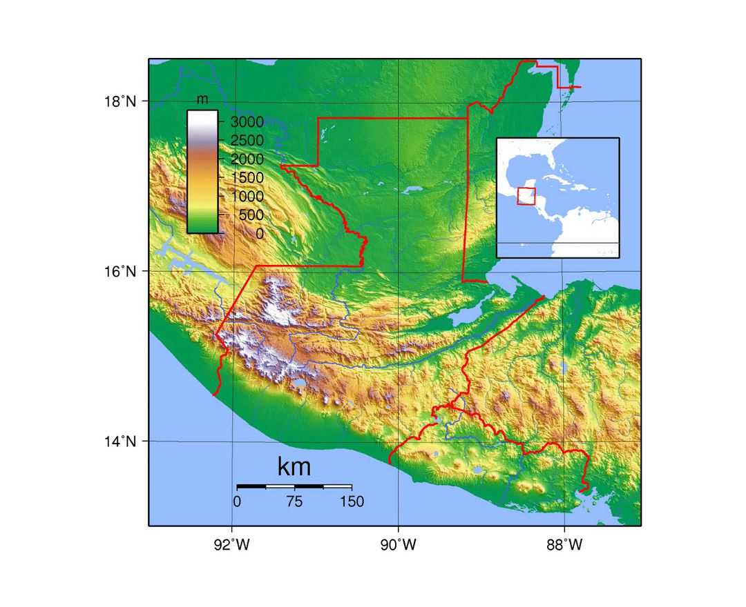 Detailed topographical map of Guatemala