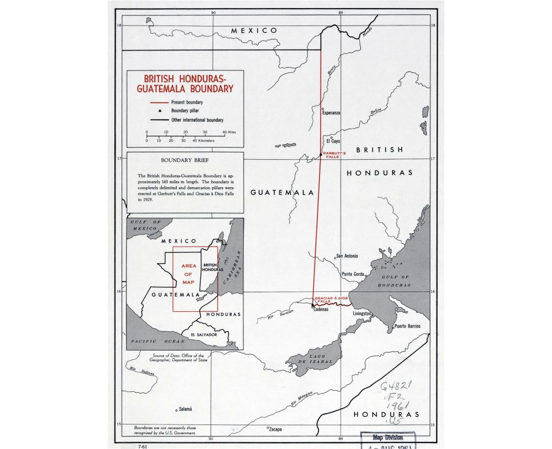 Large detailed British Honduras - Guatemala boundary map - 1961