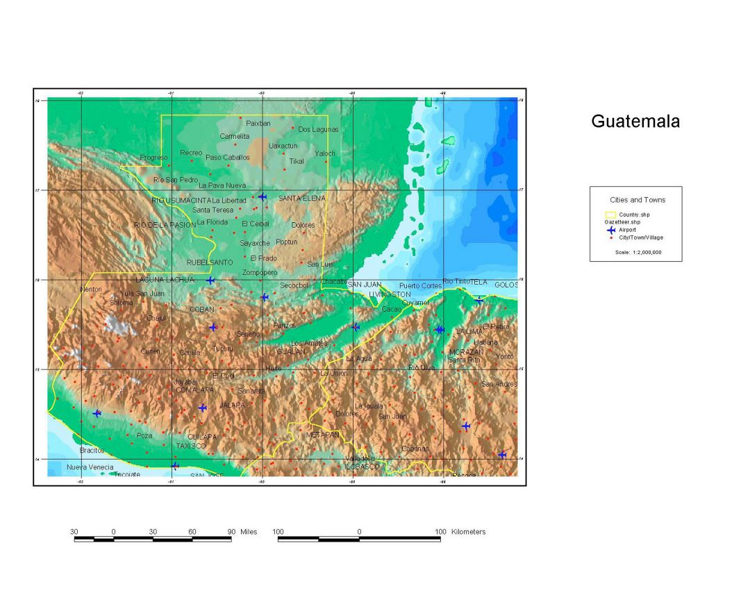 Large detailed map of Guatemala with relief, cities, towns, villages and airports - 1998