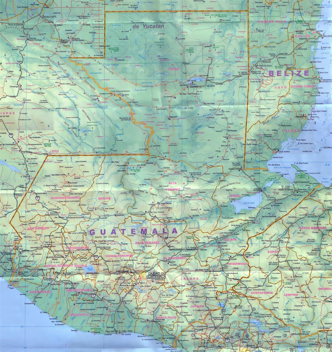 Large detailed map of Guatemala with roads, cities, airports and other marks