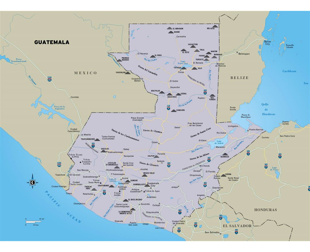 Large detailed map of Guatemala with roads, major cities and other marks