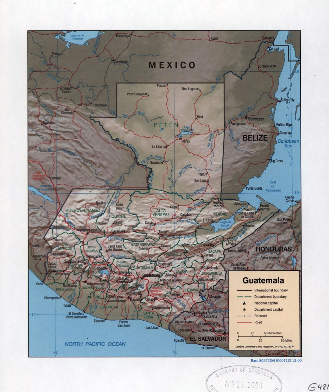 Large detailed political and administrative map of Guatemala with relief, roads, railroads and major cities - 2000