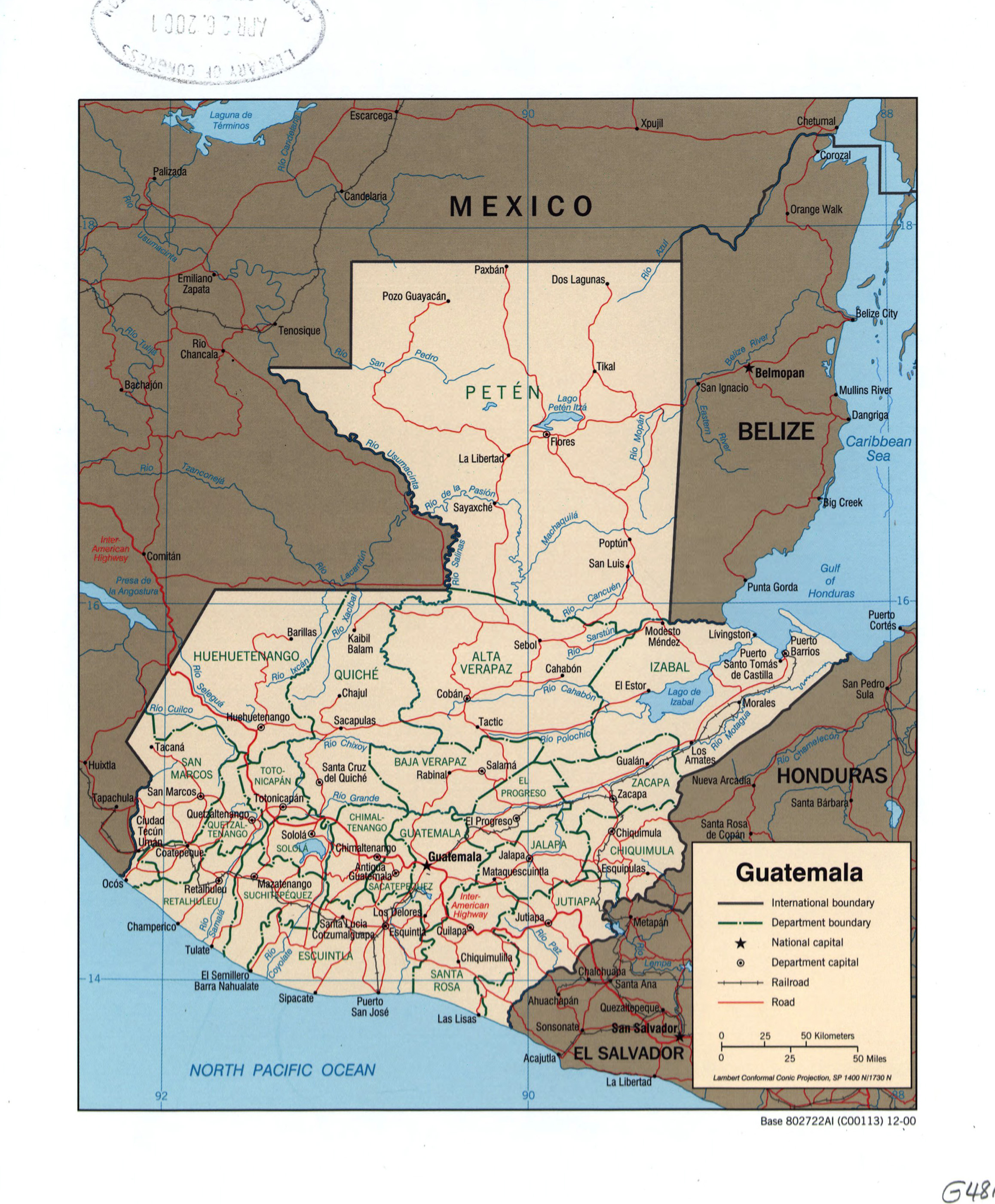 Large detailed political and administrative map of Guatemala with
