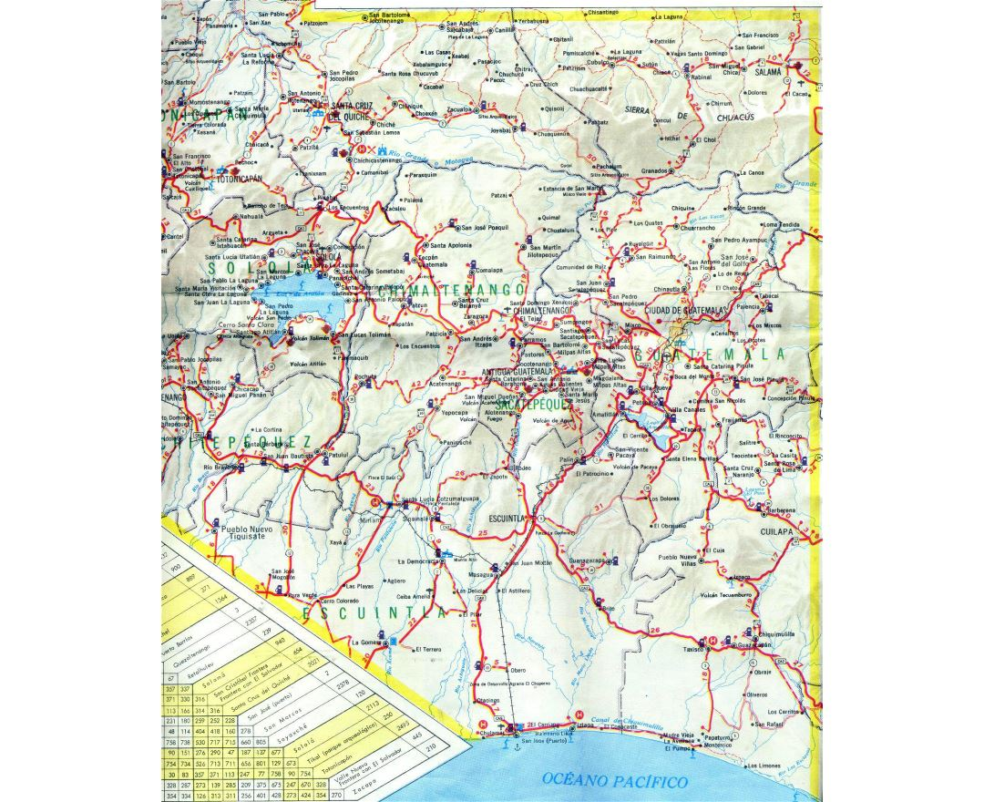 Large detailed South-Central Guatemala road map