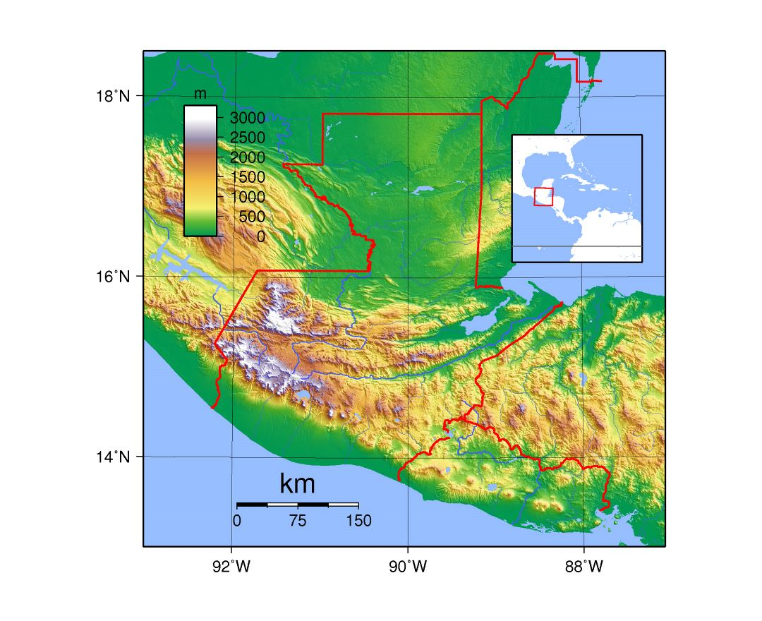 Large detailed topography map of Guatemala