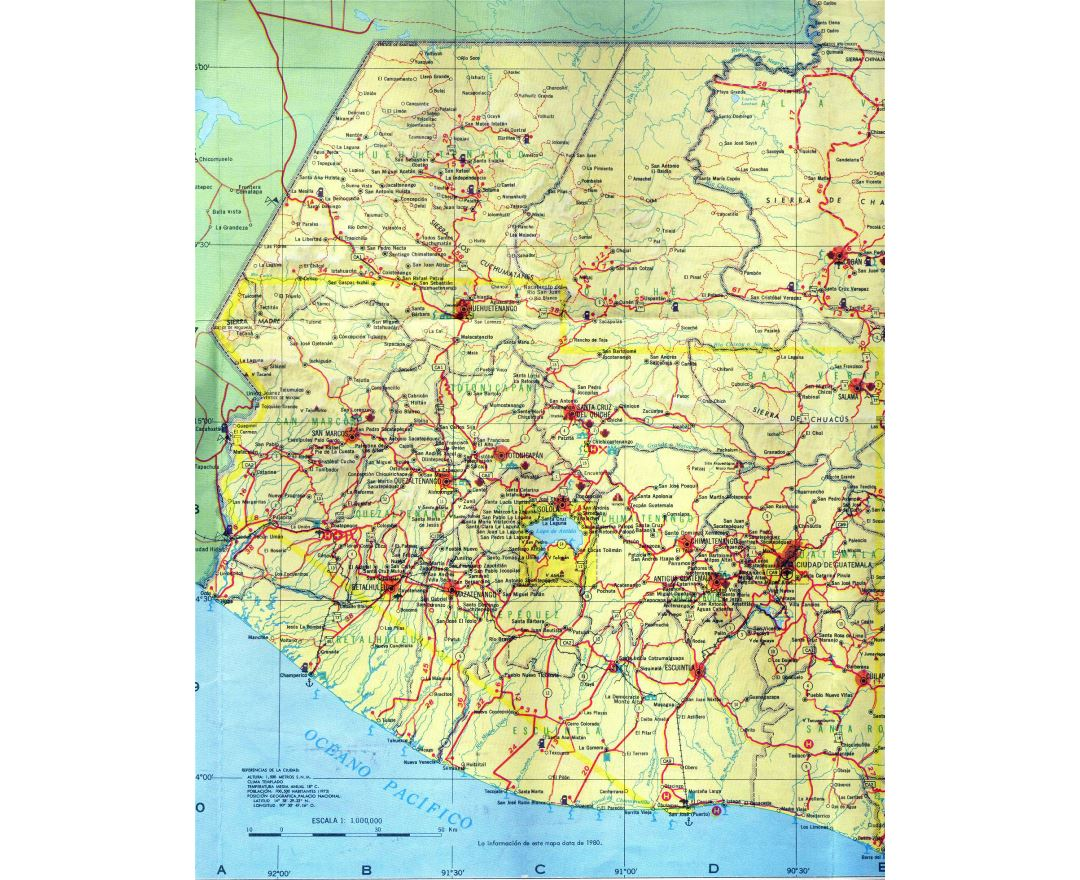 Large detailed Western-Guatemala road map