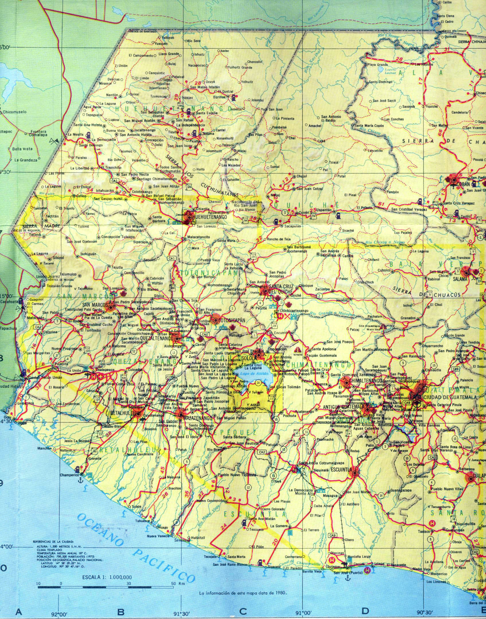 Large detailed Western-Guatemala road map | Guatemala ...