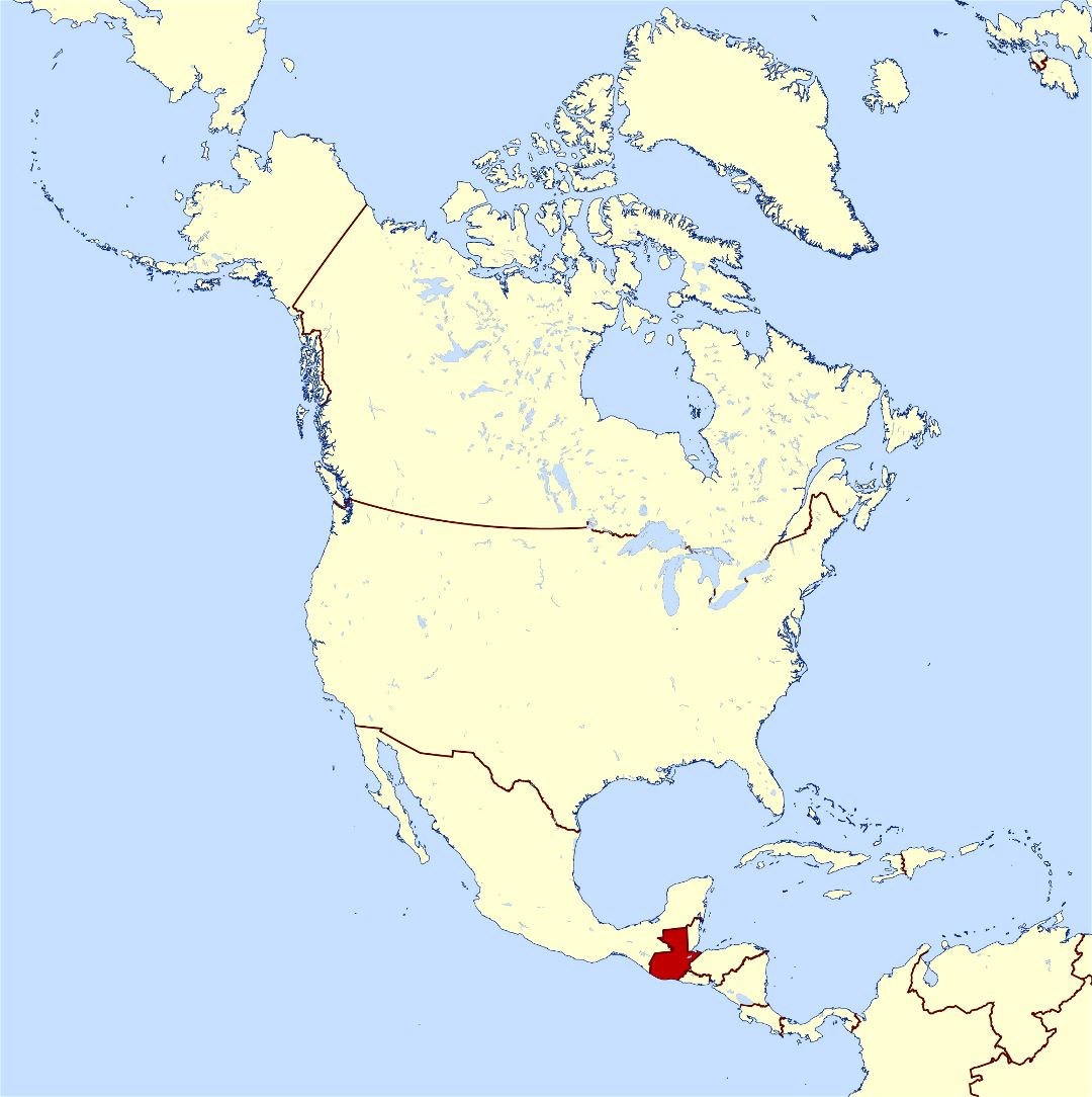 Large location map of Guatemala in North America