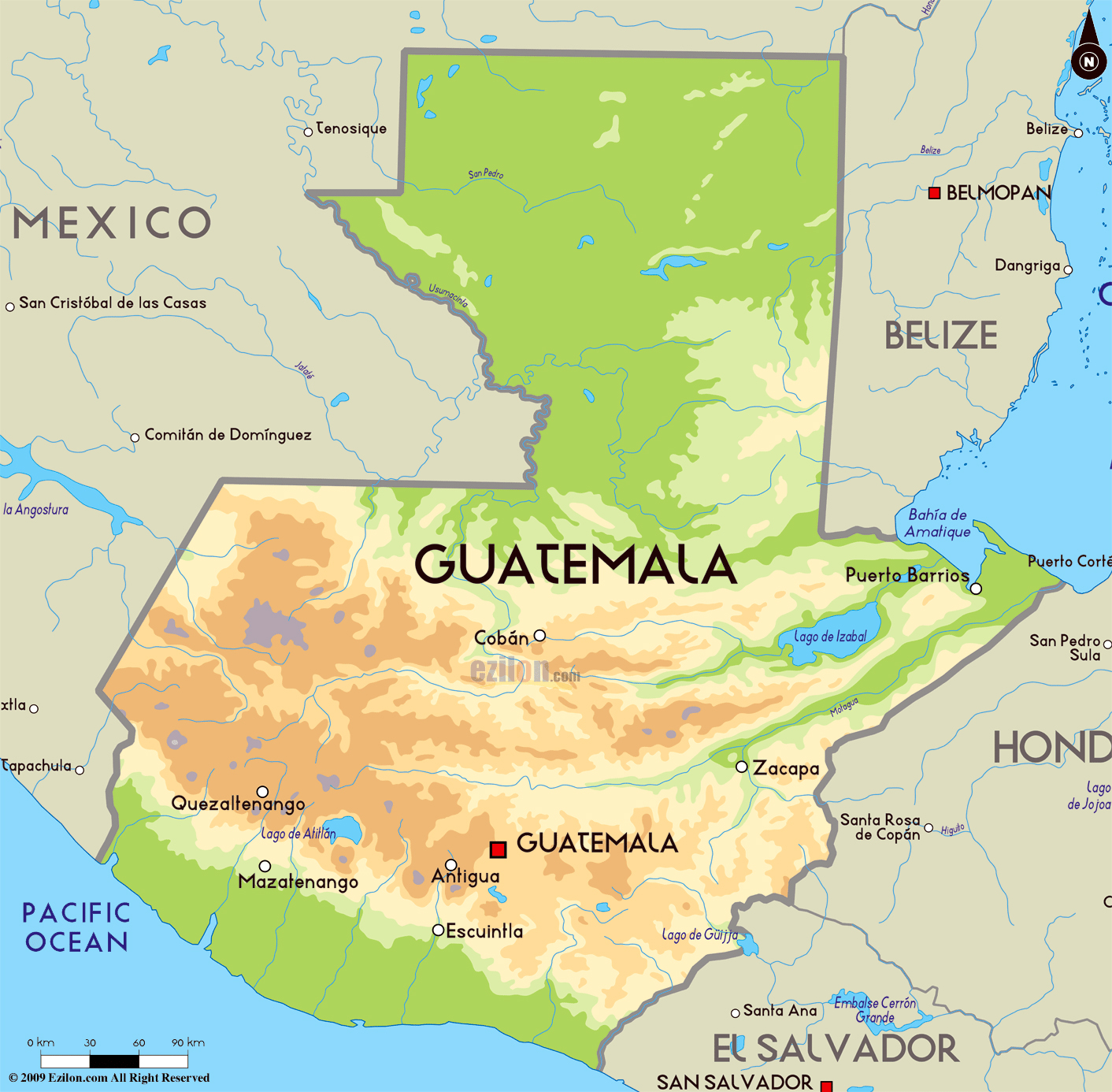 Large physical map of Guatemala with major cities Guatemala