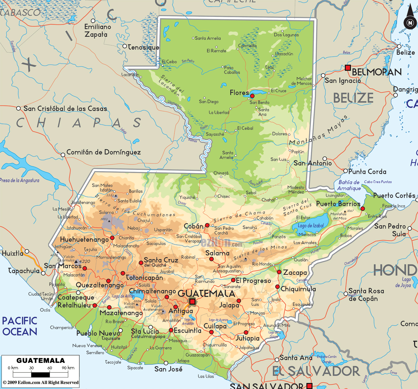 Large physical map of Guatemala with roads and cities | Guatemala ...