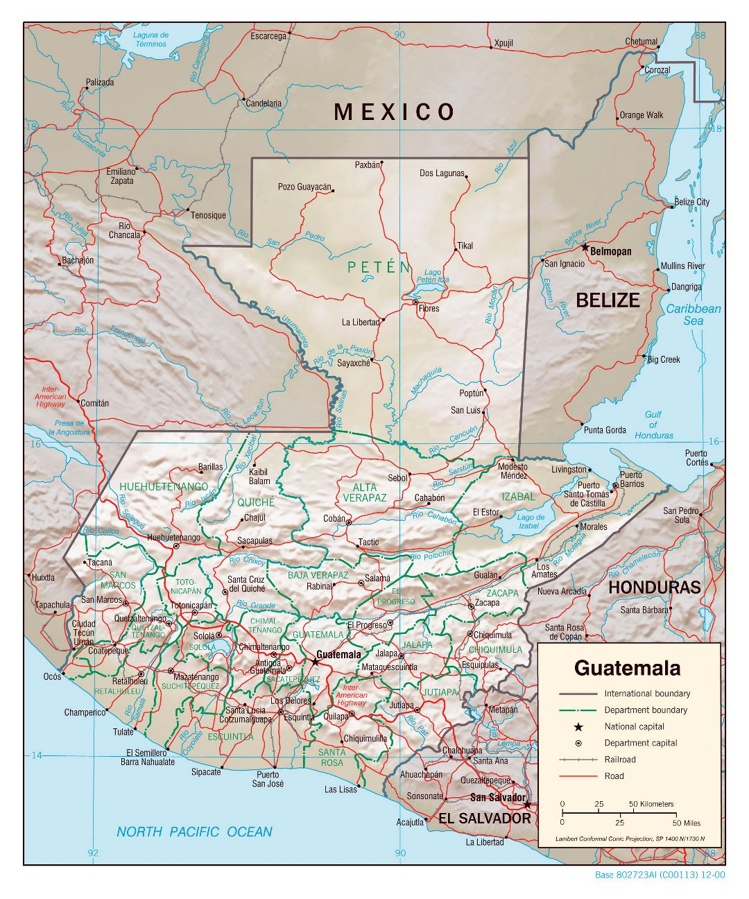 Large political and administrative map of Guatemala with relief, roads, railroads and major cities - 2000