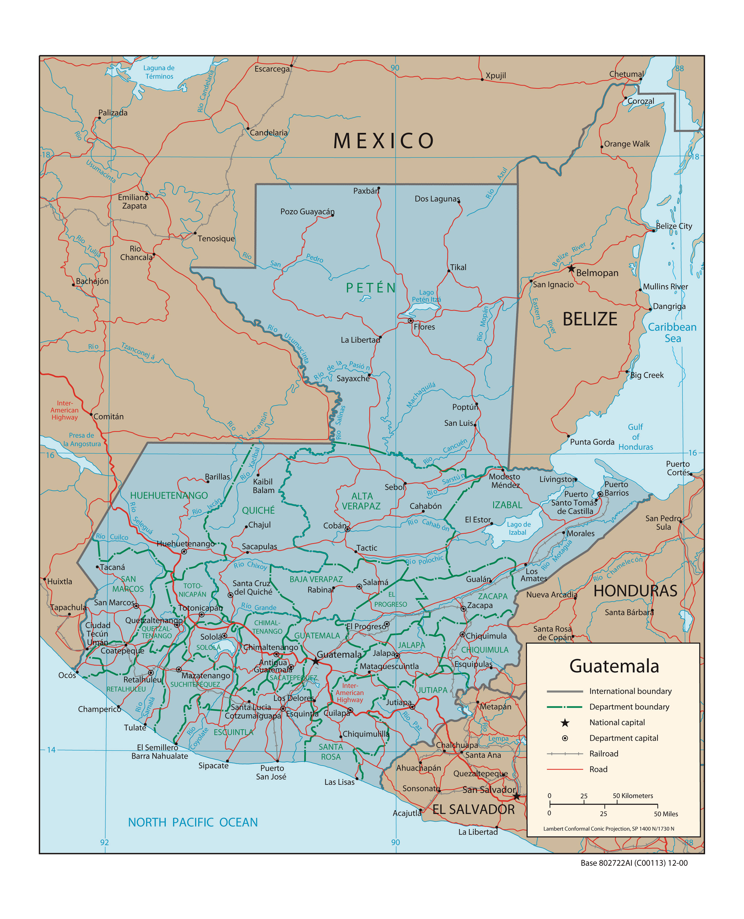 Large political and administrative map of Guatemala with roads