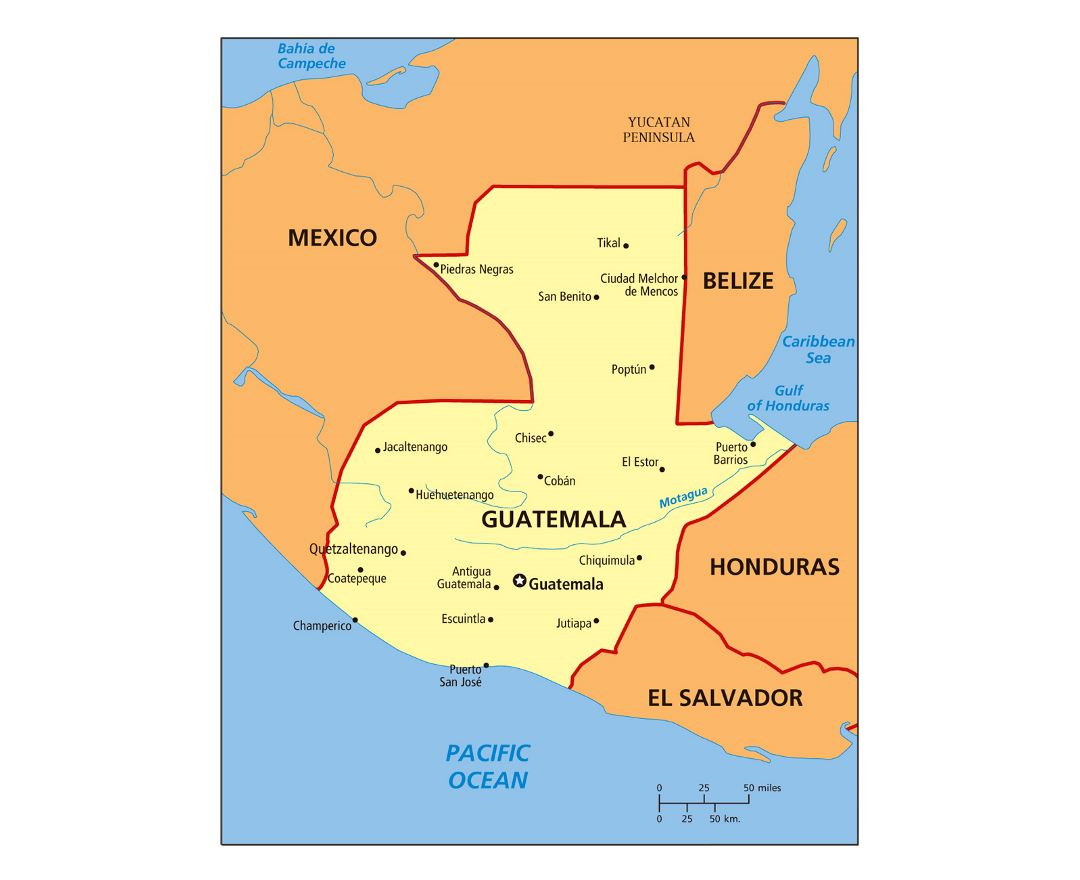 Large political map of Guatemala with cities