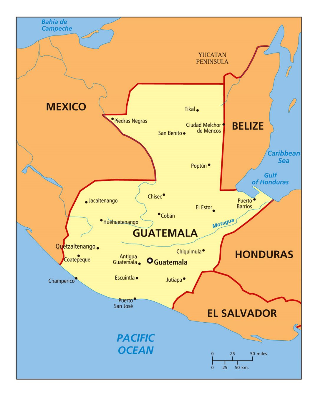 Large political map of Guatemala with cities | Guatemala | North ...