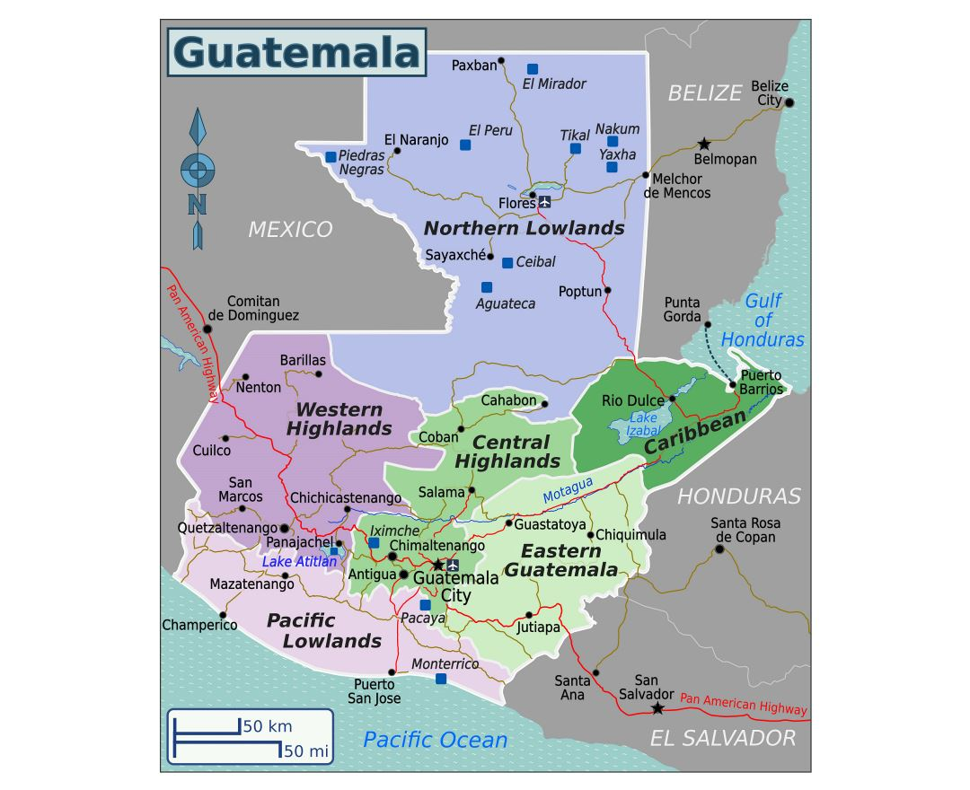 Large regions map of Guatemala