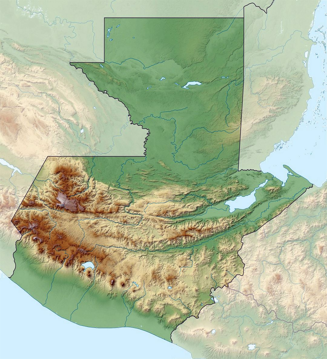 Large relief map of Guatemala