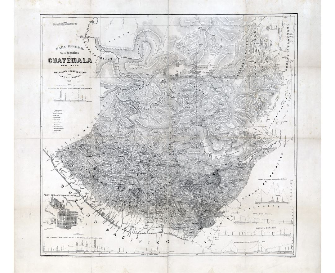Large scale detailed old map of Guatemala with relief - 1859