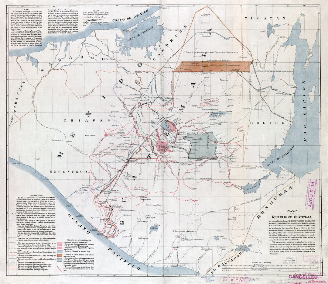Large scale detailed old map of the Republic of Guatemala - 1895