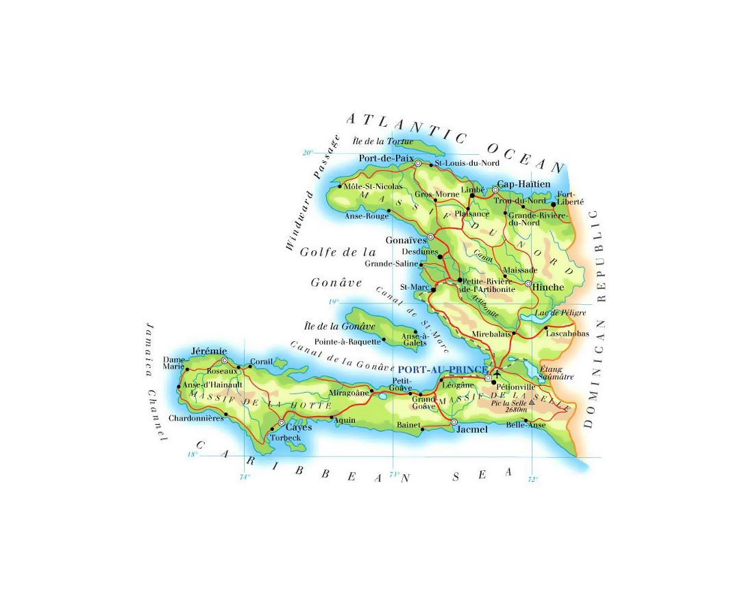 Detailed elevation map of Haiti with roads, railroads, cities and airports