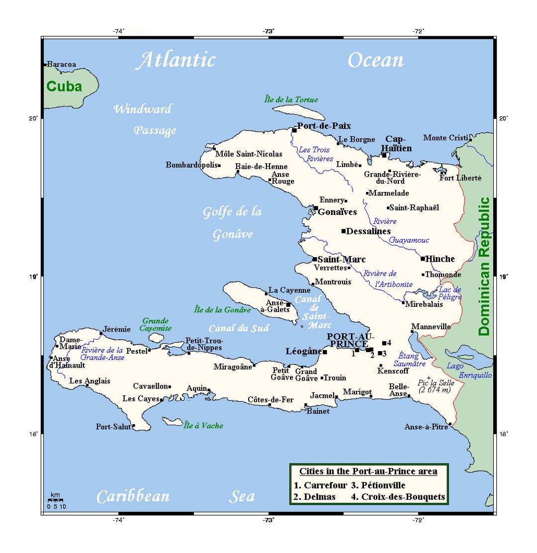 Detailed map of Haiti with cities