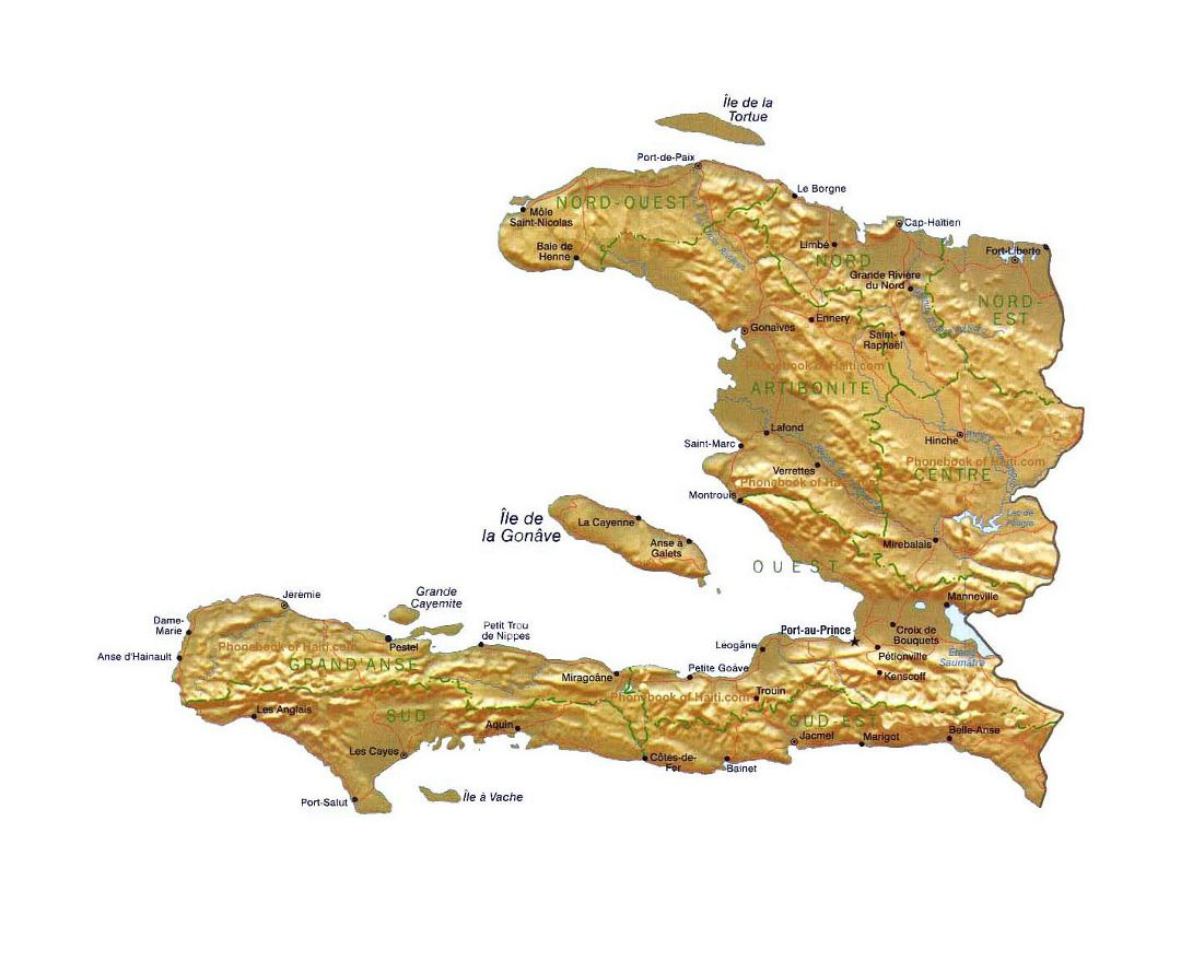 Detailed map of Haiti with relief, administrative divisions, roads and cities