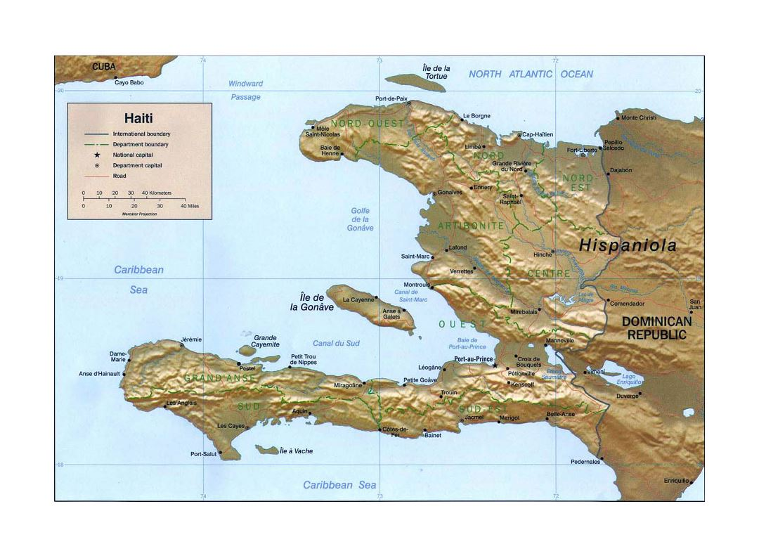 Detailed political and administrative map of Haiti with relief, roads and major cities