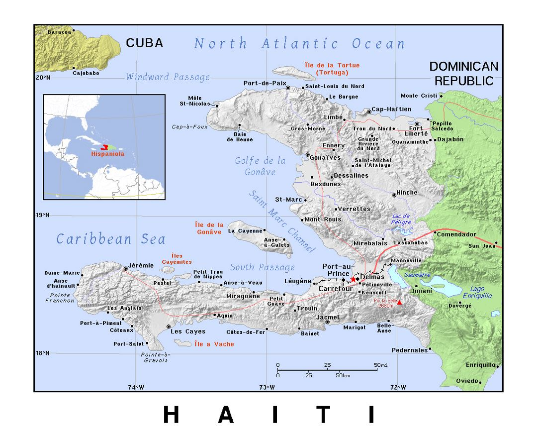 Detailed political map of Haiti with relief