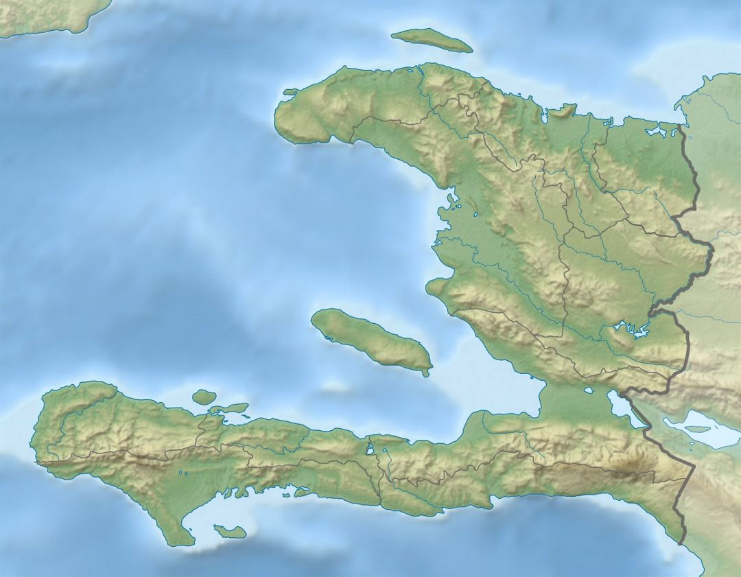 Detailed relief map of Haiti