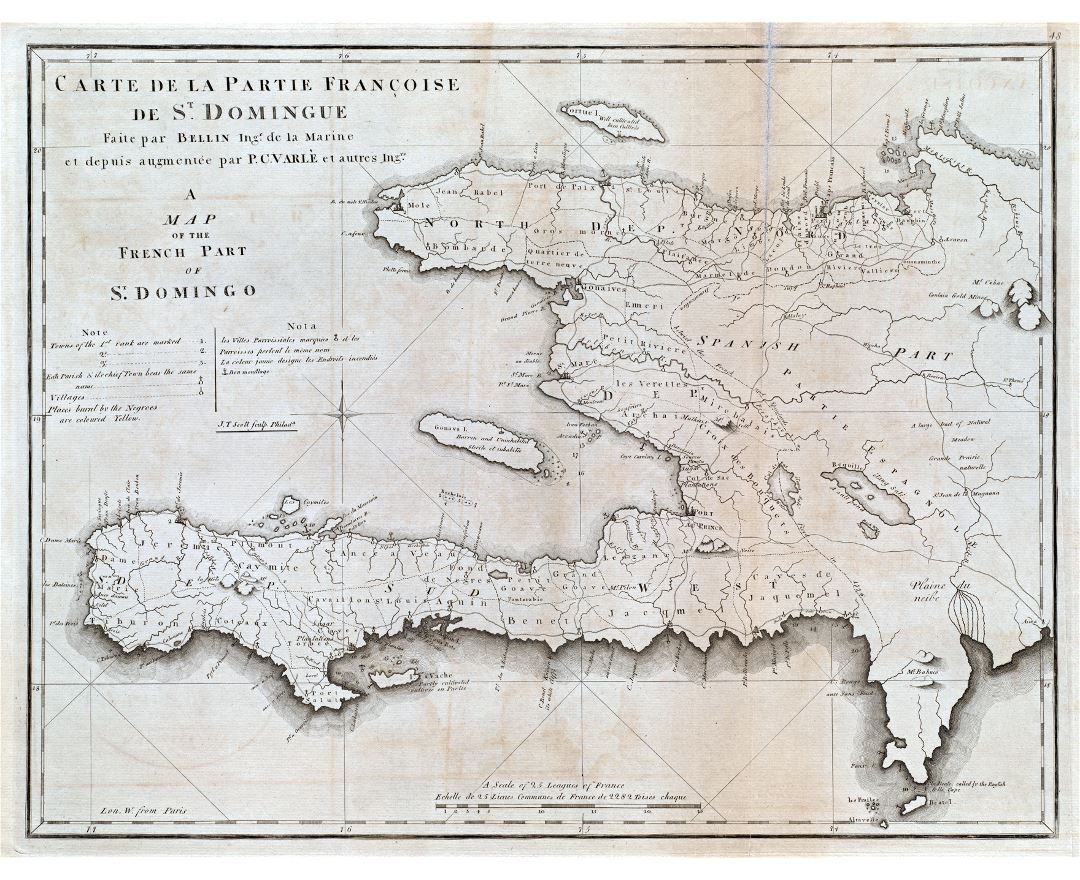 Large detailed old map of Haiti with other marks