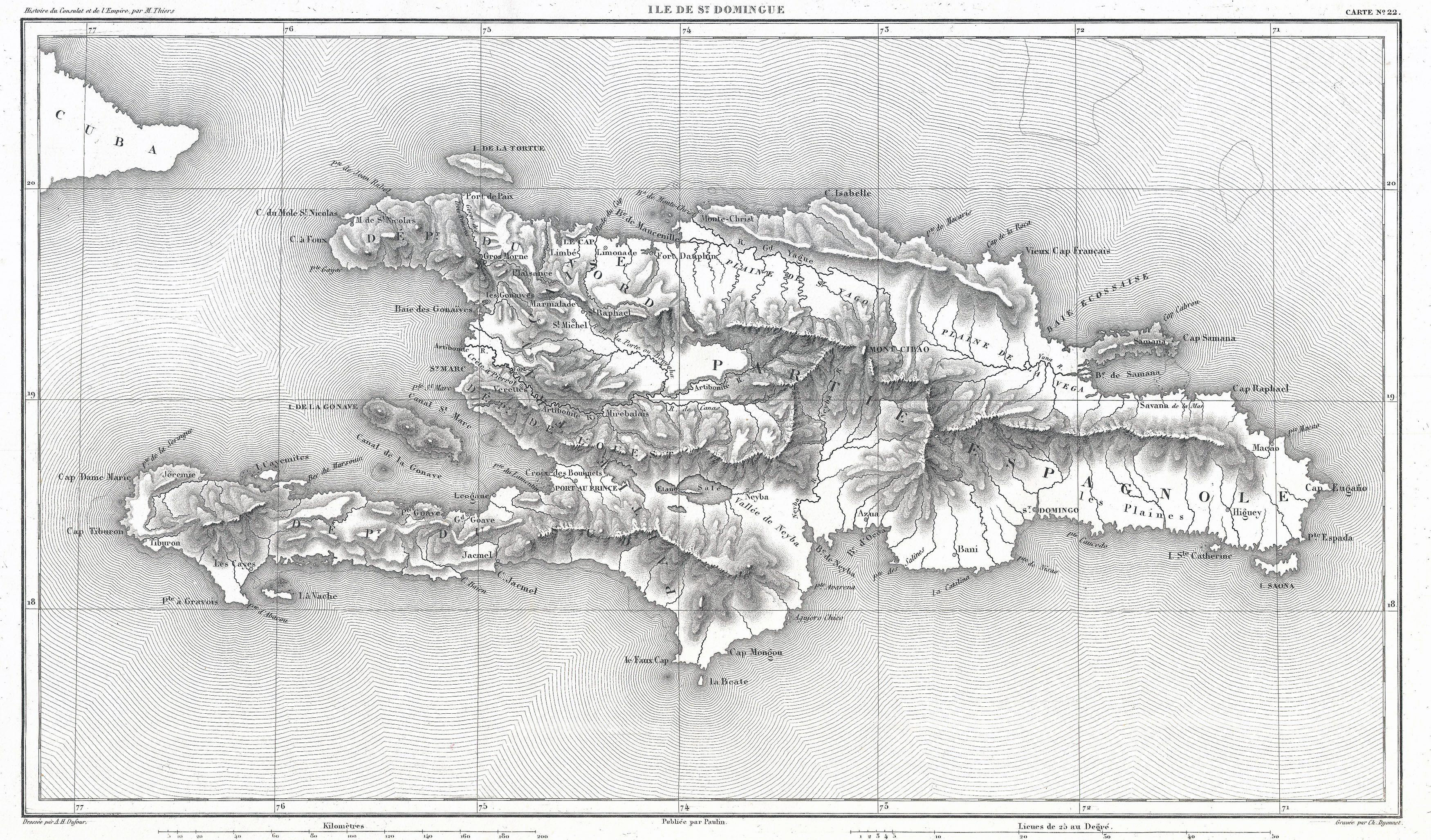 Large detailed old map of Hispaniola or Santo Domingo West Indies