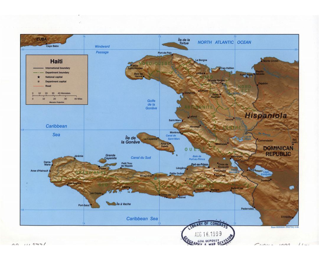 Large detailed political and administrative map of Haiti with relief, roads and major cities - 1999