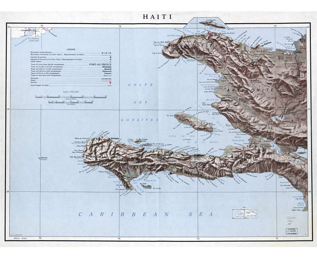 Large detailed political and administrative map of Haiti with relief, roads, railroads, airports and cities - 1962