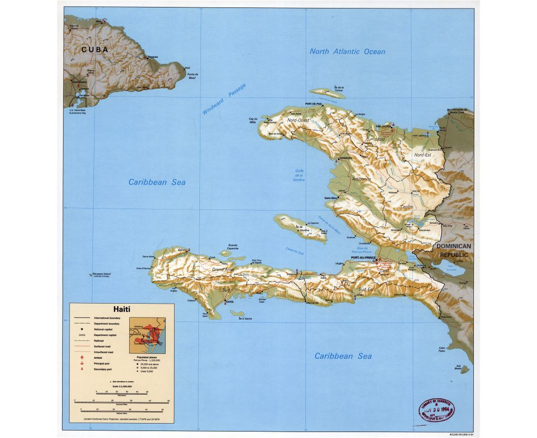 Large detailed political and administrative map of Haiti with relief, roads, railroads, ports, airports and cities - 1994