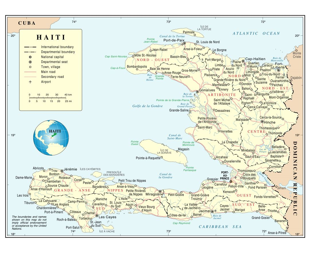 Large detailed political and administrative map of Haiti with roads, cities and airports