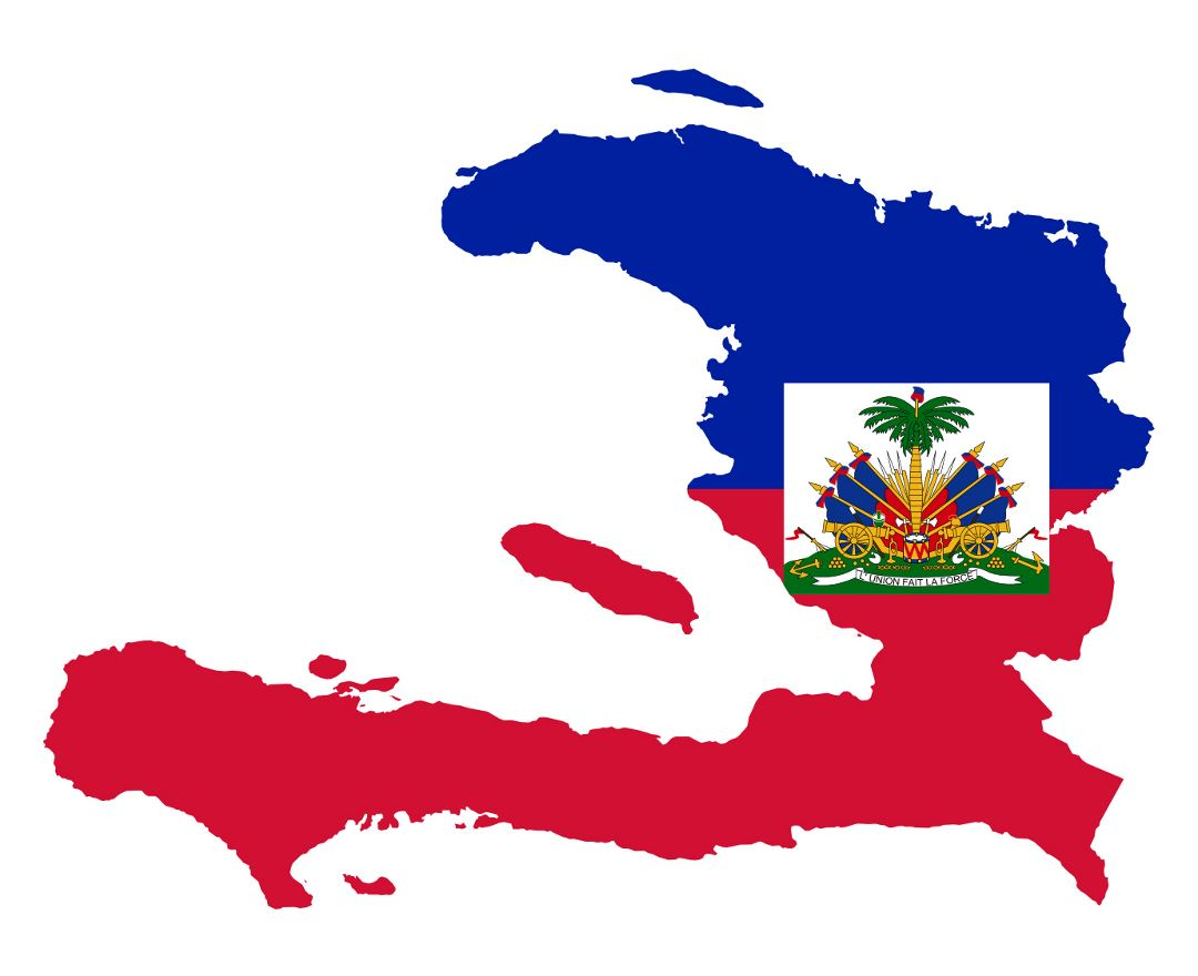 Large flag map of Haiti