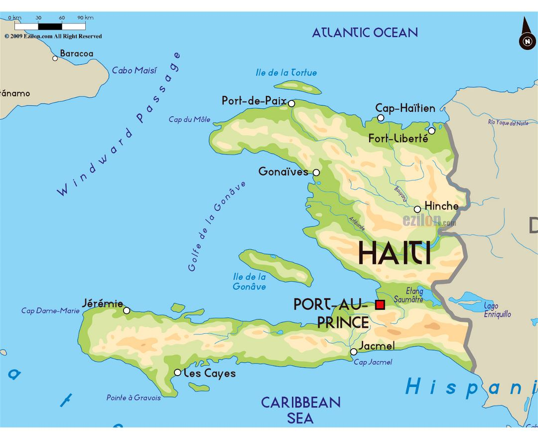 Large physical map of Haiti with major cities
