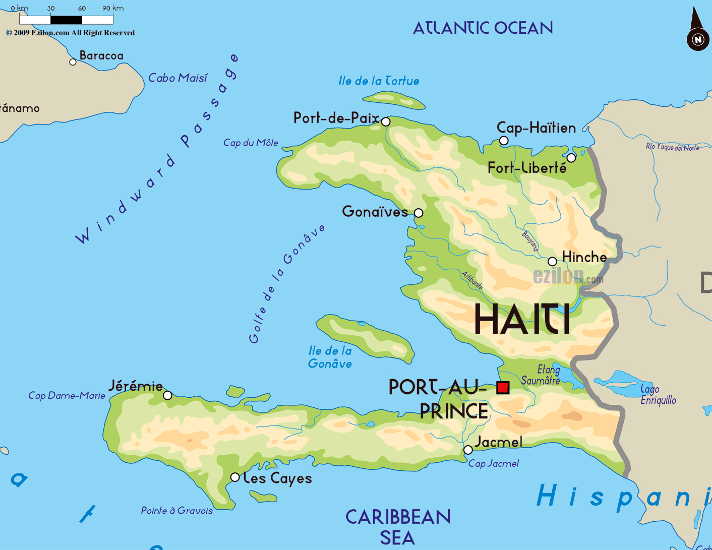 Large physical map of Haiti with major cities Haiti North