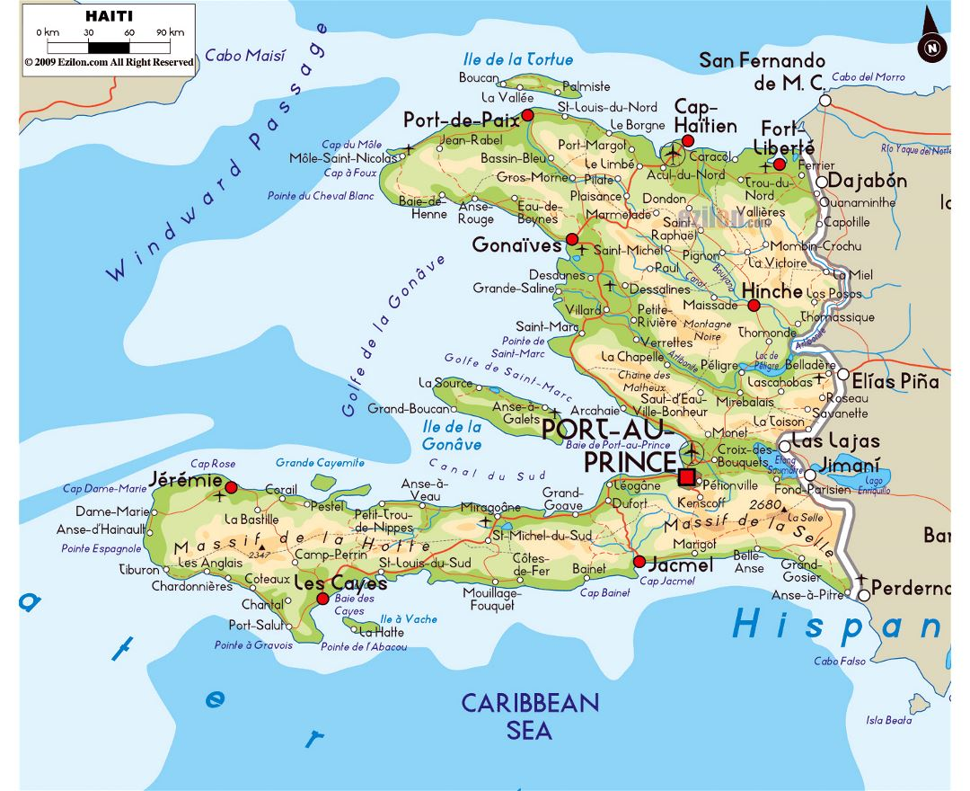Large physical map of Haiti with roads, cities and airports