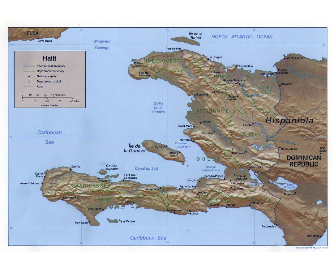 Large political and administrative map of Haiti with relief, roads and major cities - 1999