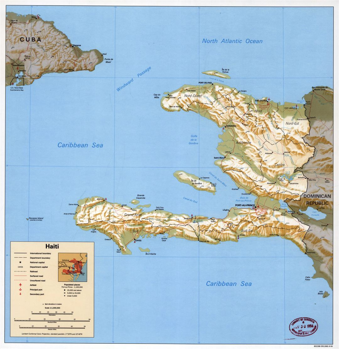 Large political and administrative map of Haiti with relief, roads, railroads, sea ports, airports and cities - 1994
