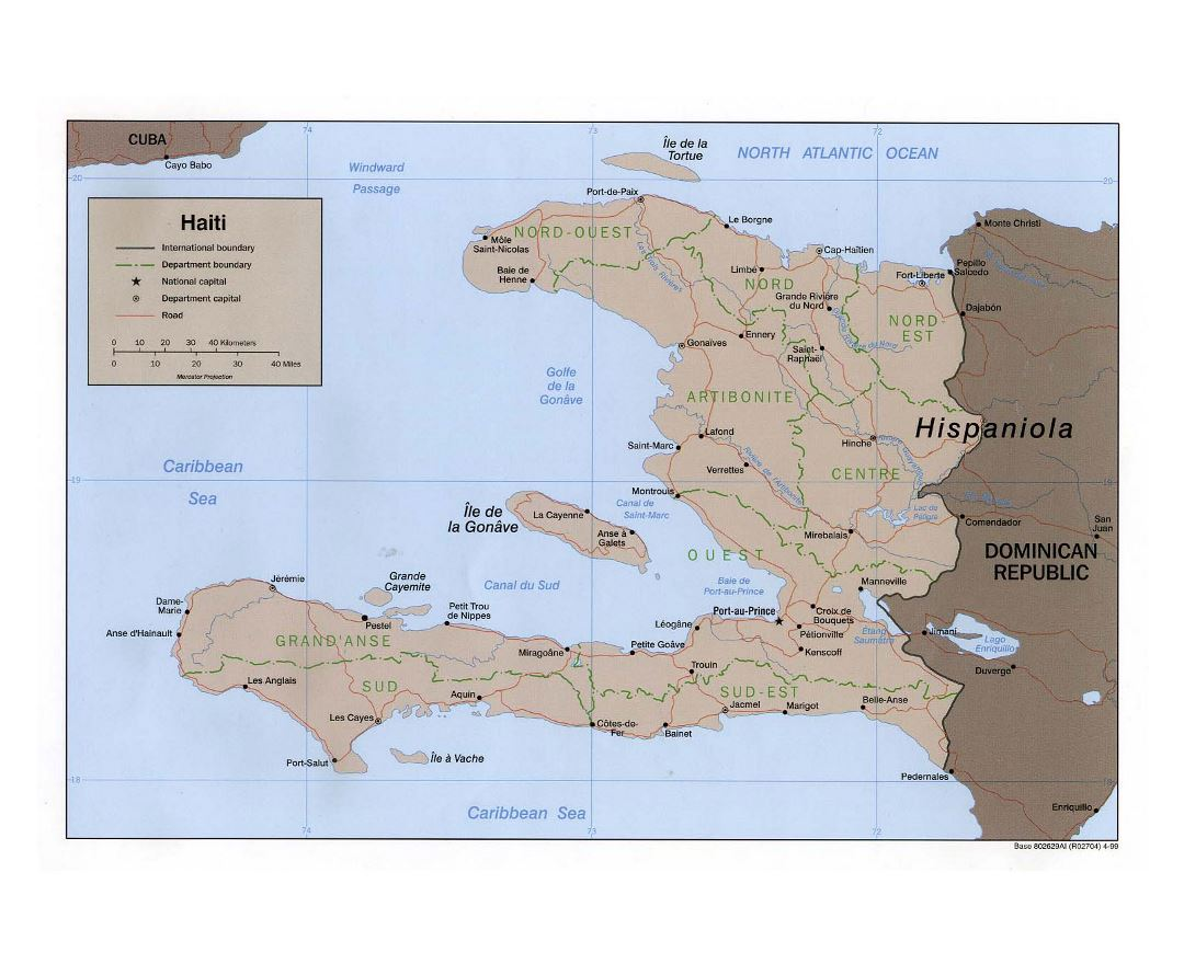 Large political and administrative map of Haiti with roads and major cities - 1999