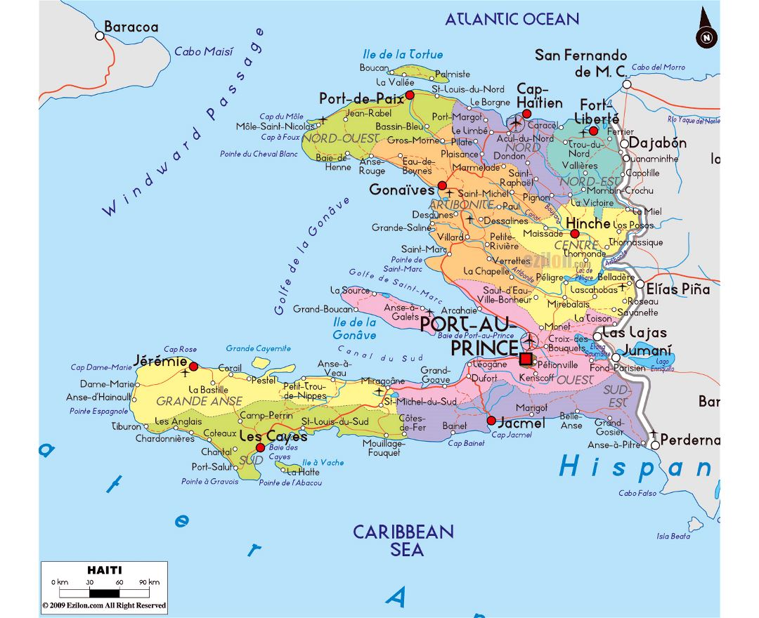 Large political and administrative map of Haiti with roads, cities and airports