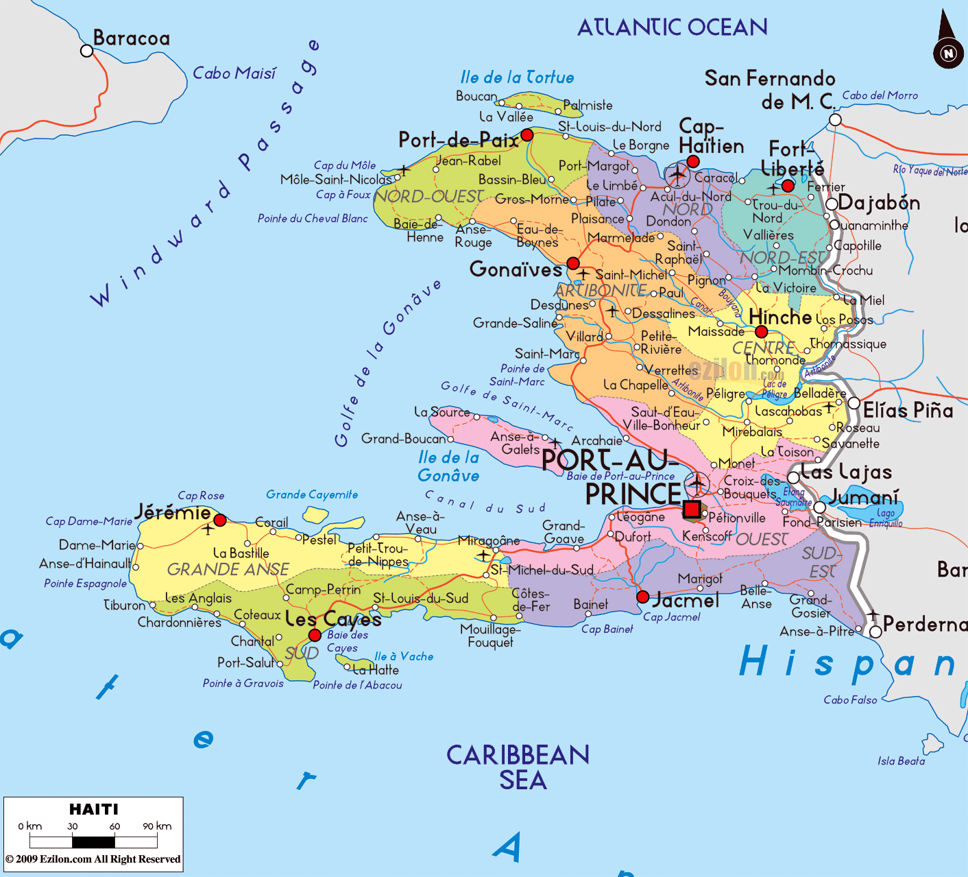 Large political and administrative map of haiti with roads cities large political and administrative map of haiti with roads cities and airports gumiabroncs Choice Image