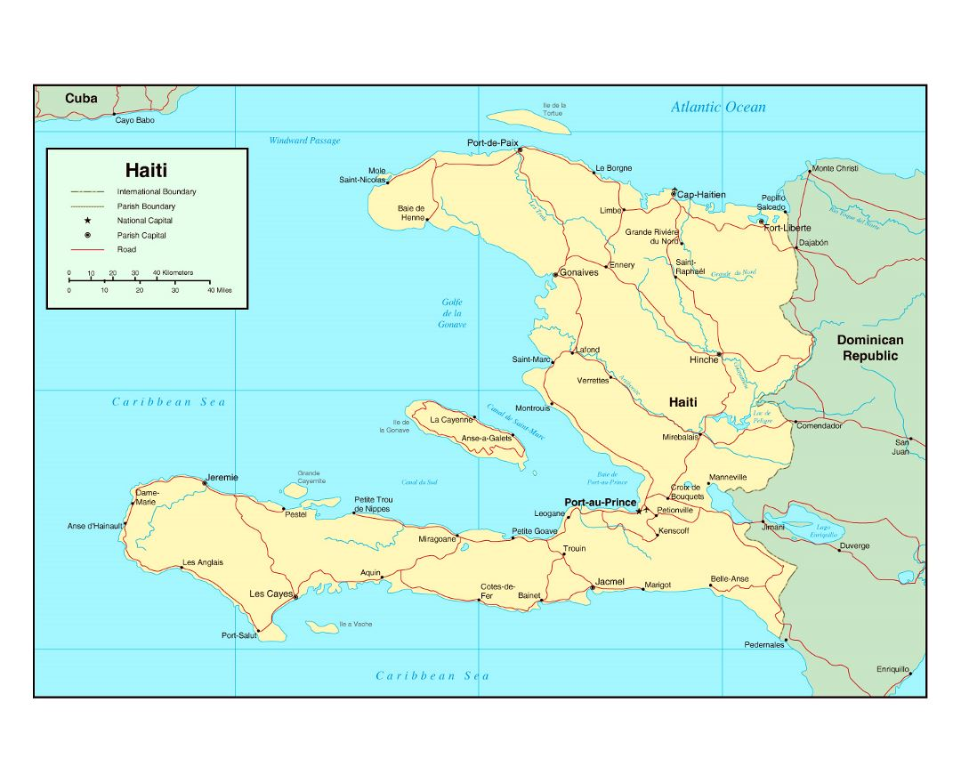 Large political map of Haiti with roads, cities and airports