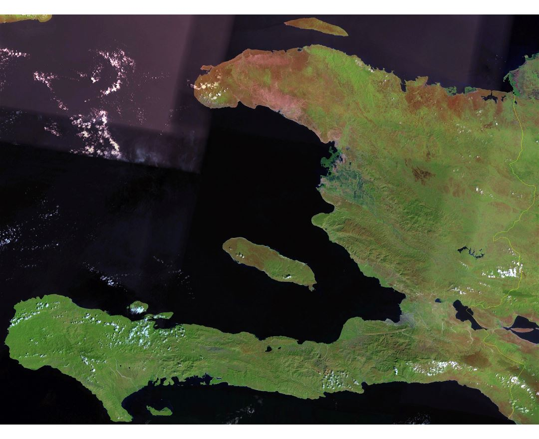 Large satellite map of Haiti