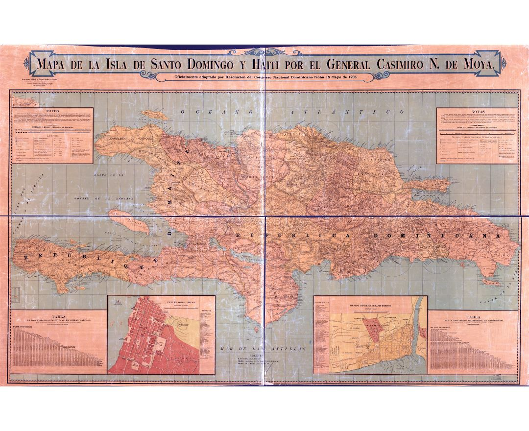 Large scale detailed old map of Santo Domingo with relief, roads and cities - 1906