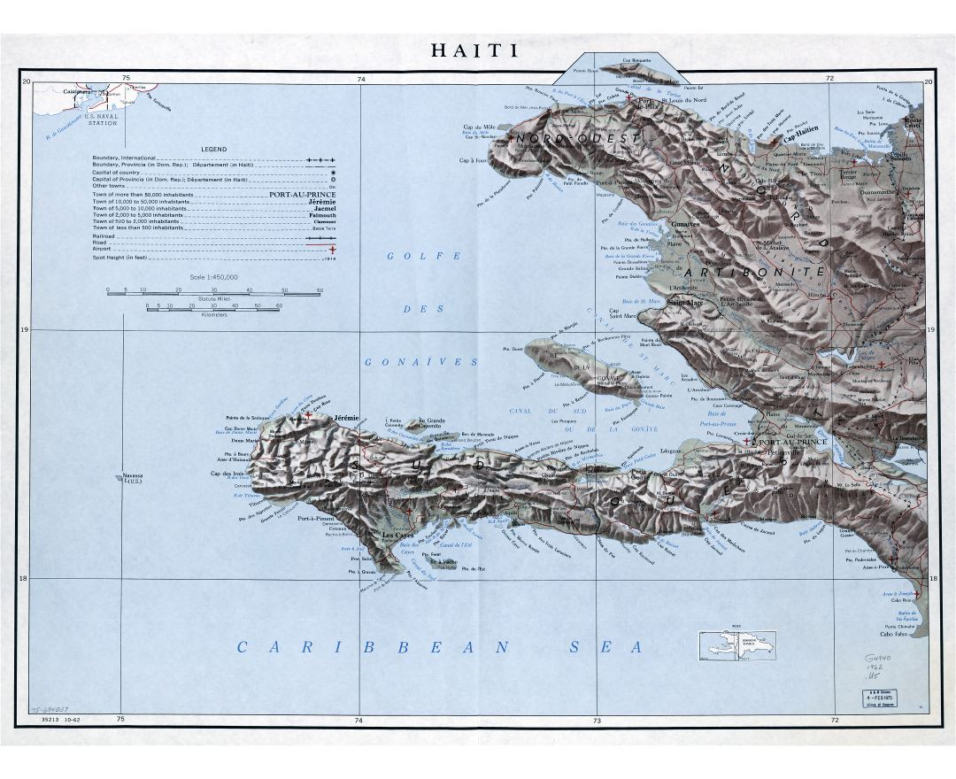 Large scale detailed political and administrative map of Haiti with relief, roads, railroads, airports and cities - 1962