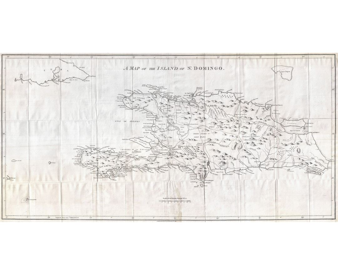 Large scale old map of Hispaniola or Santo Domingo, West Indies, Haiti, Dominican Republic - 1800